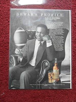 1985 Print Ad Dewars Scotch Whiskey Gale Sayers Chicago Bears Football NFL
