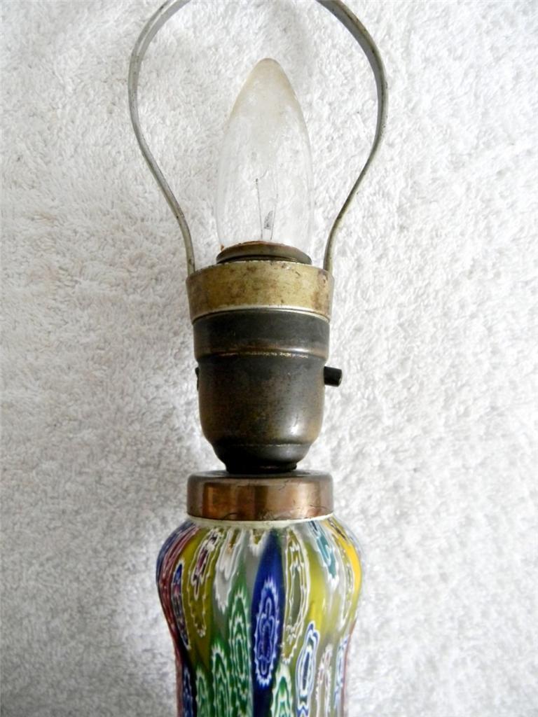 millefiori art glass vintage lamp base hand blown free. Black Bedroom Furniture Sets. Home Design Ideas