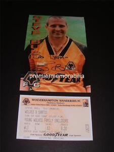 WOLVES FC LEGEND STEVE BULL SIGNED (PRINTED) PHOTO + 1997 TESTIMONIAL v SANTOS