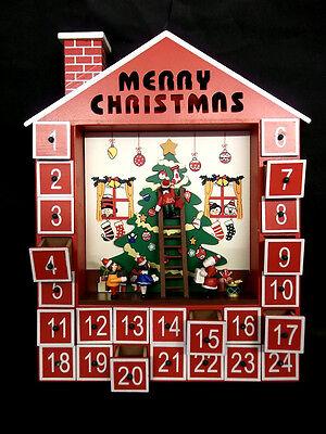 Christmas Wooden Advent Calendar Santa and Elves Elf Party House Ornament Xmas