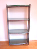 Contemporary Modern Style Metal / Glass Bookcase Shelving Unit