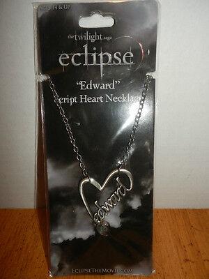 TWILIGHT ECLIPSE EDWARD SCRIPT HEART NECKLACE FROM 2010 HEART
