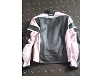 ladies new richa motorbike jacket black and baby pink size 14