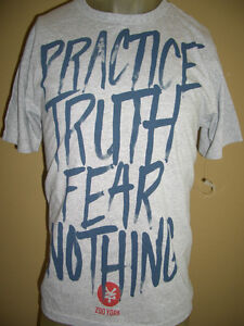 NWOT-Zoo-York-Practice-Truth-Fear-Nothing-Graphic-T-Shirt-Gray-Size-Medium