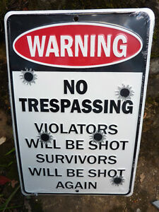 Warning-NO-TRESPASSING-VIOLATORS-SHOT-SURVIVORS-SHOT-AGAIN-SIGN-Chevrolet-Ford