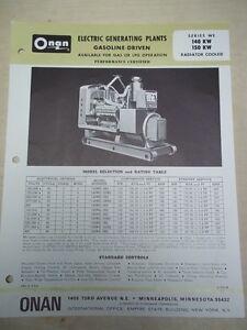 Vtg Onan Brochure 140 150 Kw We Electric Generating Plants