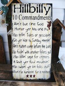 Primitive-Sign-Humorous-Hillbilly-10-Commandments-Subway-Art-Sign-Free-Shipping