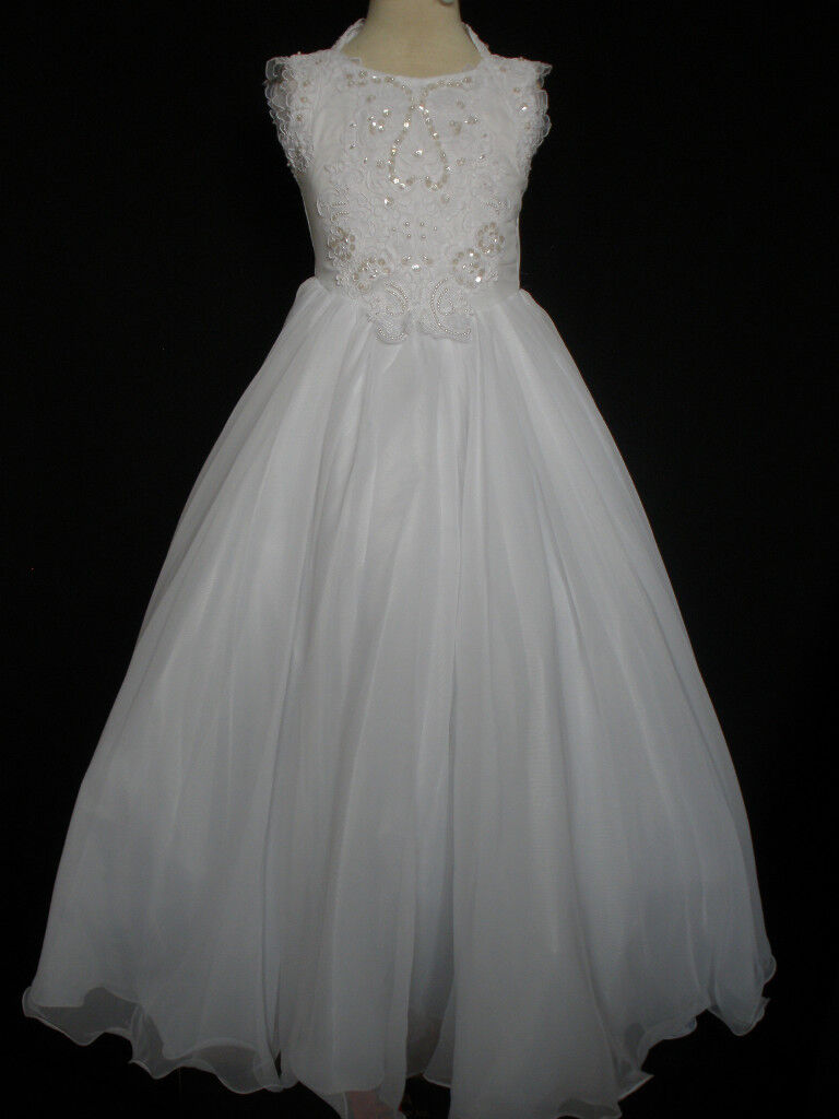 Girl Glitz National Pageant Wedding Party Formal Dress Size: 12,14 White
