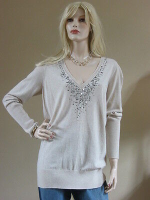 Eileen Fisher Oatmeal V-neck Top Organic Cotton & Cashmere W/sequins Xl $218