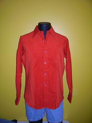 Vtg Burnt Orange Retro Corduroy Shirt By Brent Montgomery Ward New Old Stock Med