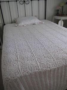 Vintage Crochet Double Bedspread