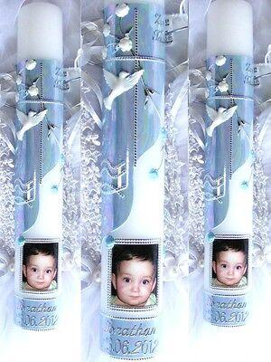 Taufkerze Kommunionkerze Konfirmationkerze 400/50 mm inkl Foto Junge Mädchen