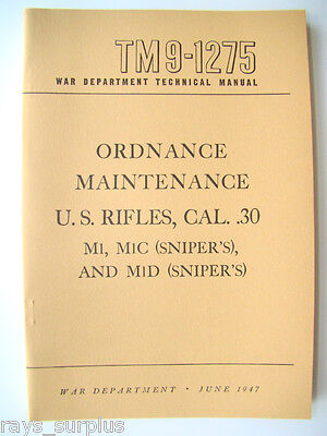 M1 Garand M1c M1d Maintenance Manual Tm9-1275