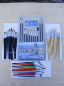 48pc Artist Craft Hobby Paint Brush Set Suit Airfix And Model Painting New