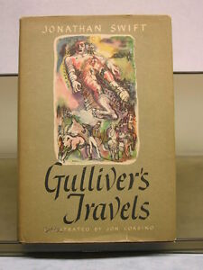 GULLIVER'S TRAVELS BY SWIFT, HCDJ 1945 BOOK CLUB EDITION, ILLUSTRATED