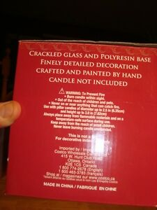 Hurricane Candleholder - Crackled Glass&Christmas Polyresin Base Kitchener / Waterloo Kitchener Area image 5
