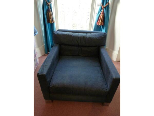 1970's vintage really large square denim chair, chrome feet, from Saddlers Wells Brighton Picture 2