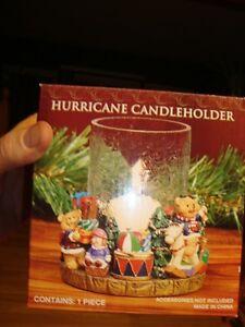 Hurricane Candleholder - Crackled Glass&Christmas Polyresin Base Kitchener / Waterloo Kitchener Area image 3