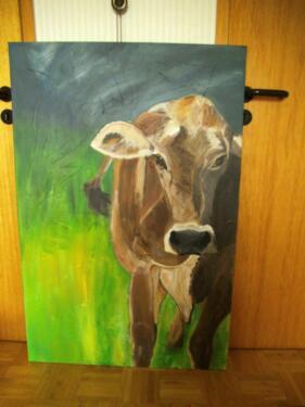 Acryl bild acryl gem lde auf leinwand kuh in aachen eilendorf ebay kleinanzeigen - Kuh bilder auf leinwand ...