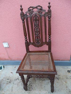 Gründerzeit Pracht Stuhl Eiche Geflecht historism Chair oak 1880 very good