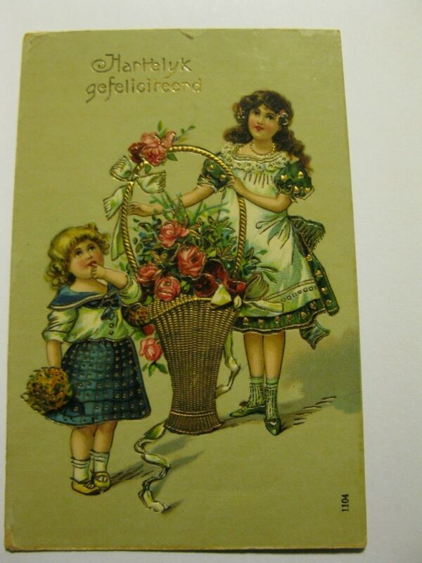 pretty girls roses Germany vintage postcard gold basket Hartelyk Gefeliciteerd