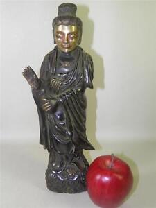 Chinese-Asian-Buddhism-Bronze-Gilt-Kwan-Yin-Guan-Yin-Goddess-Statue