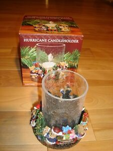 Hurricane Candleholder - Crackled Glass&Christmas Polyresin Base