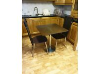 Two-Seater Bistro Dining Set With Leather Chairs