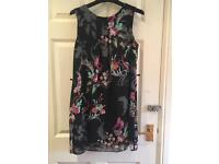 Black dress with colourful floral print