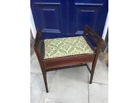 Mahogany Piano Stool with upholstered lift up seat , for storage . size W 22 in D 15 in H 25 in