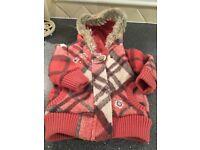 Babies coral fur trimmed jacket
