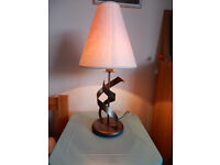 CAN DELIVER Table Lamp M & S Design Iron Metal Base Cream Shade Marks & Spencer