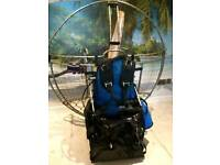 Paramotor, wing, harness and reserve