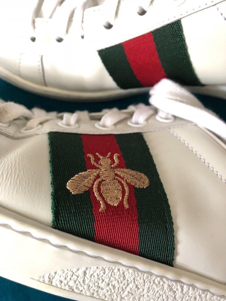 3423993115d Gucci Ace Embroidered Sneaker Womens Ladies Used Great Condition size 35  (UK 3) white, red & green