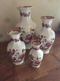 MASON IRONSTONE - Complete Set Of India Vases - (Mandalay Red)