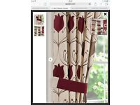 Lalique wine coloured lined eyelet curtains with tie backs