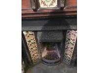 Victorian solid wood and cast iron fireplace