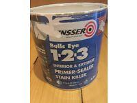 Zinsser Bulls Eye 1-2-3 Primer & Johnstones Black Eggshell paint (2.5l tins 3/4 full in both)