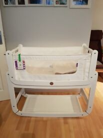 ** SnuzPod Bedside Crib and Mattress - including little green sheep mattress and protector - £85 **