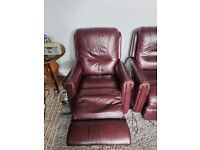 2 leather reclining chairs 1 manual and 1 electric
