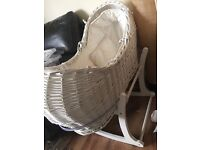 Mothercare white wicker Moses basket