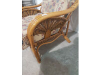 Conservatory Cane/Wicker Armchair With Multicoloured Cushions (#1006)