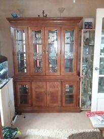 Walnut display cabinet.