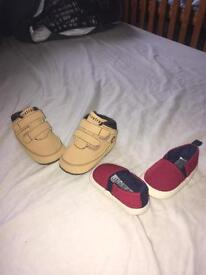 Baby boy shoes and winter hat