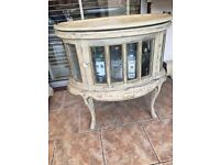 Hardwood Oval Drinks Cabinet Shabby Chic