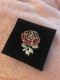 England Rugby Silver Rose Brooch/Pin