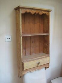 Lovely Rustic Solid Pine Wall Shelf Unit with Drawer - Ideal for the Kitchen