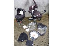 Silvercross Surf Travel System, pushchair, carrycot, car seat and Isofix base and accessories