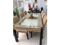 Luxury conservatory furniture, dining table, six chairs, coffee table, modular sofa with footstool