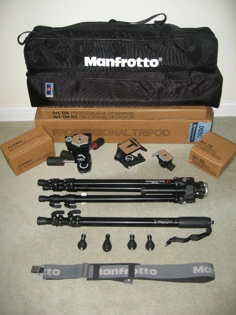 Manfrotto Professional Tripod+Monopod+Heads+Accessories Bundle